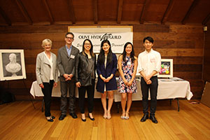 Jurors - Patricia Moran, Michael Wertz, and Nancy Benton; Honorable mention winners - Allison Du and Agnes Lo,  First Place winner - Minjun Kim